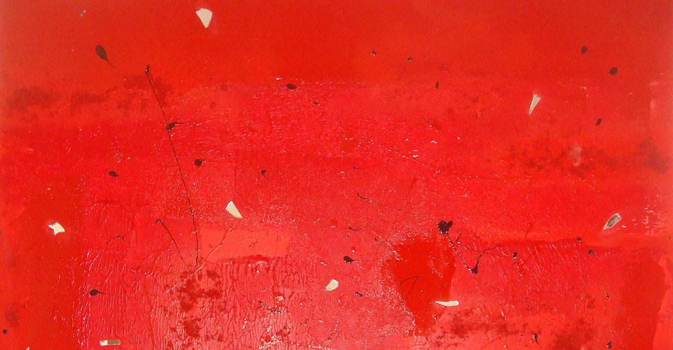 MCMXCIX - Peinture contemporaine acrylique et glycéro rouge, noire, verre, sable - Châssis coton 100/100