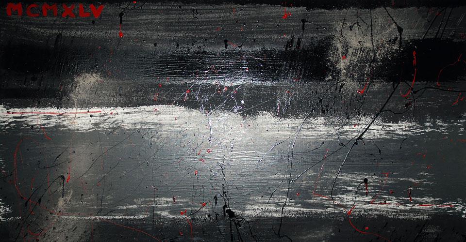 MCMXLV - Peinture contemporaine acrylique mate, brillante, rouge, noir, gris, cendres - Châssis en lin 146/97.